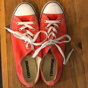 Coral/red Converse Chuck Taylors
